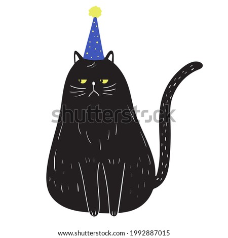 Grumpy black cat in doodle style wearing birthday hat. Funny childish pet character sitting with serious face. Hand drawn vector illustration