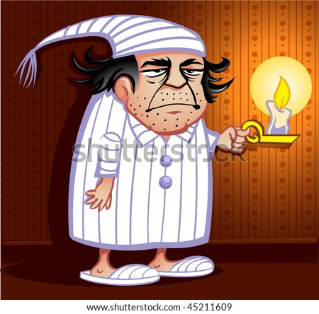 stock vector : Grumpy Old man in pajamas holding a candle