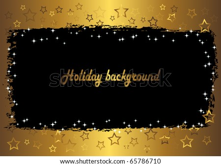 grunge a banner against gold background with stars. vector.
