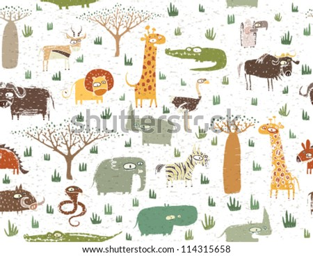 Grunge African Animals Seamless Pattern