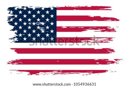 Grunge American Flag Background. Vector Usa Flag. #1054936631