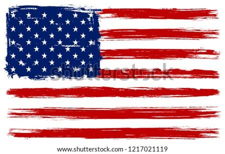 Grunge American flag.Dirty flag of USA.