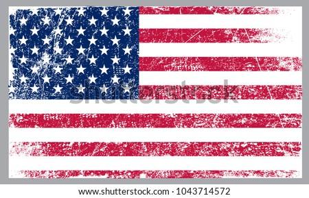 Grunge American flag.Flag of USA. #1043714572