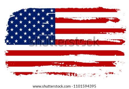 Grunge American flag.Flag of USA.Vector. #1101594395