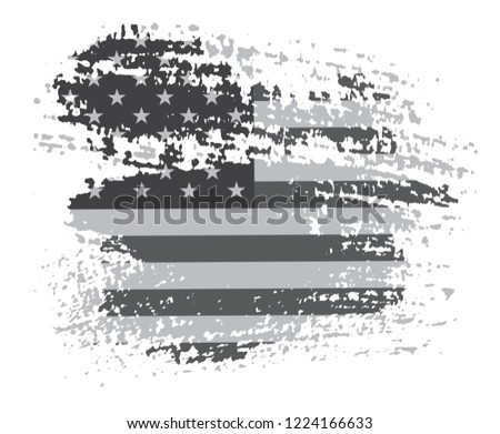 Grunge American flag.Old black and white  flag of USA.