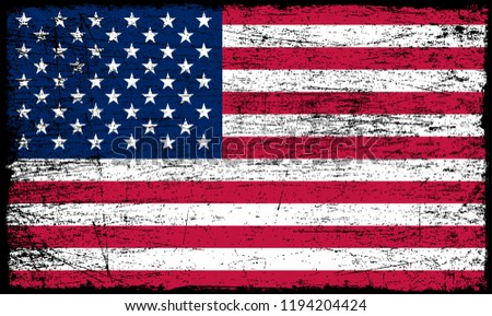 Grunge American flag.Old dirty USA flag.