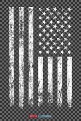 Grunge American flag on transparent background. Template for your design works. Vector illustration.
