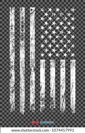 Grunge American flag on transparent background. Template for your design works. Vector illustration.