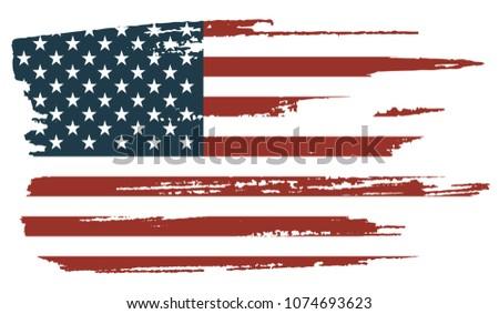 Grunge American flag.United States Of America flag for design.Vector illustration. #1074693623