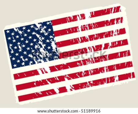 Grunge american flag. Vector background.