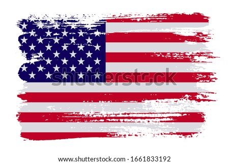 Grunge  American flag.Vector brush stroke USA flag.