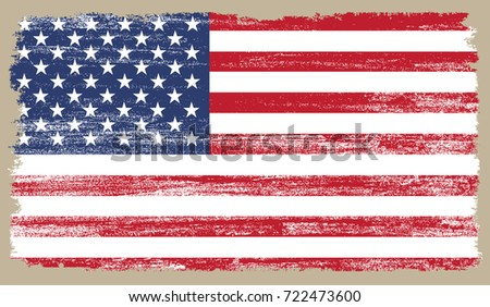 Grunge American flag.Vector flag of United States. #722473600