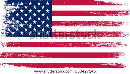 Grunge American flag.Vector flag of USA. #533427145