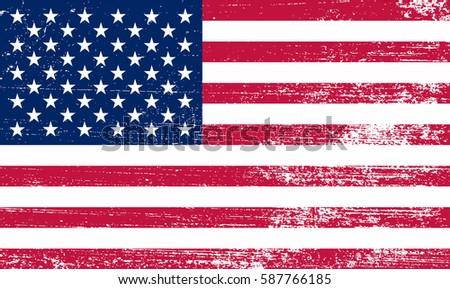 Grunge American flag.Vector flag of USA. #587766185