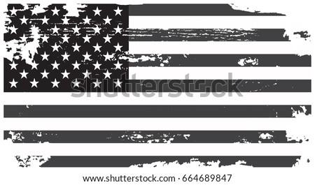 Grunge American flag.Vector flag of USA. #664689847
