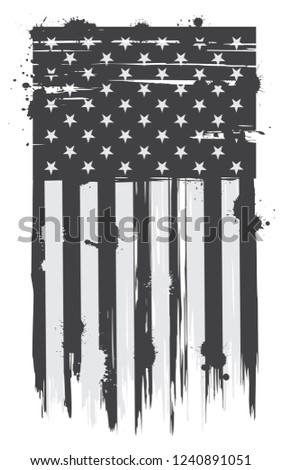 Grunge American flag.Vector USA flag.