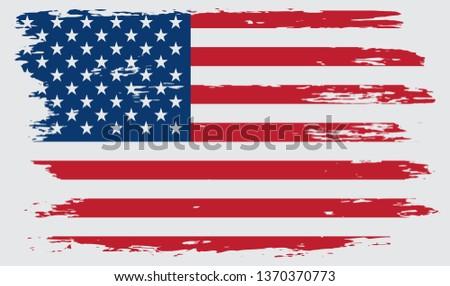Grunge American flag.Vintage flag of USA. #1370370773