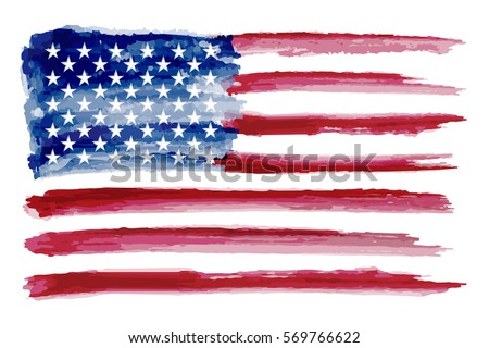 grunge american flagwatercolor