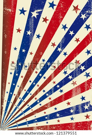 Grunge american stars.  A vintage dirty tricolor background for a poster