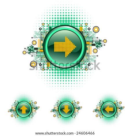 Grunge & hi-tech vector navigation buttons wor web. - stock vector