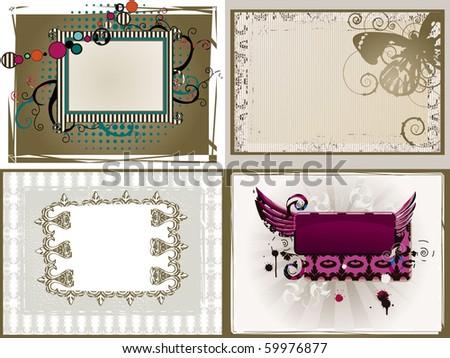 grunge and retro-styled frames set