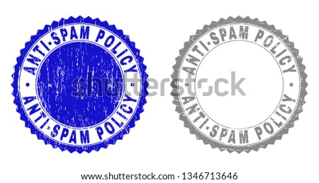 Grunge ANTI-SPAM POLICY stamp seals isolated on a white background. Rosette seals with grunge texture in blue and grey colors. Vector rubber imitation of ANTI-SPAM POLICY label inside round rosette.