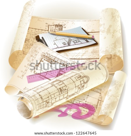 Grunge architectural background with drawing tools and rolls of drawings. Vector illustration