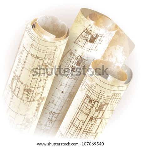 Grunge architectural background with rolls of drawings. Vector clip-art - stock vector