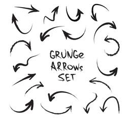Grunge arrows on white background. Vector hand drawn arrows isolated on white background