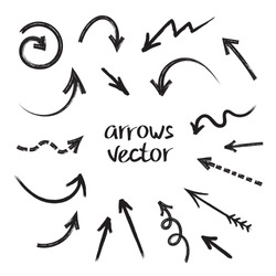 Grunge arrows vector set on white background