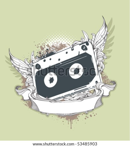 Grunge audio tape on dirty background with bizarre pattern. Vector illustration.