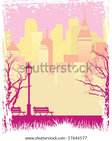 Grunge autumn background with a town and a park