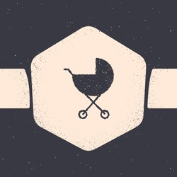 Grunge Baby stroller icon isolated on grey background. Baby carriage, buggy, pram, stroller, wheel. Monochrome vintage drawing. Vector Illustration