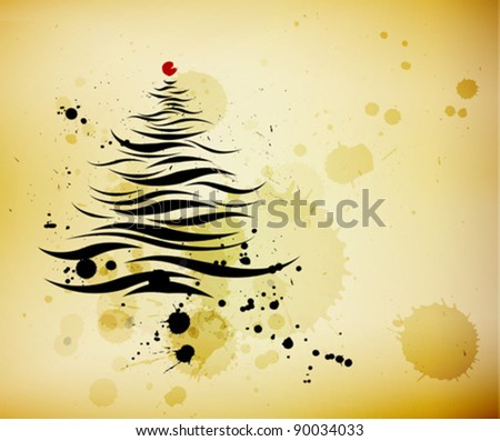 grunge background and a calligraphic Christmas tree