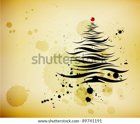 grunge background and ink brushed abstract christmas pine tree