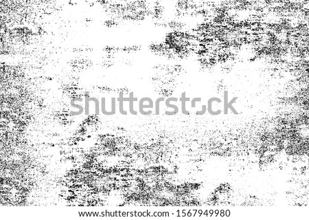 Grunge background black and white. Monochrome texture. Vector pattern of cracks, chips, scuffs. Abstract vintage surface Сток-фото ©