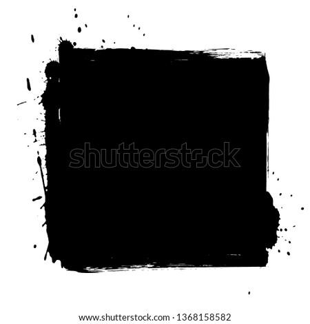 Grunge background. Grunge frame. Grunge border. Grunge black square on white background.  #1368158582