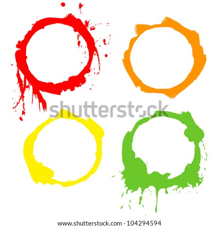 Grunge Background multicolor ink circles. Vector frames - stock vector