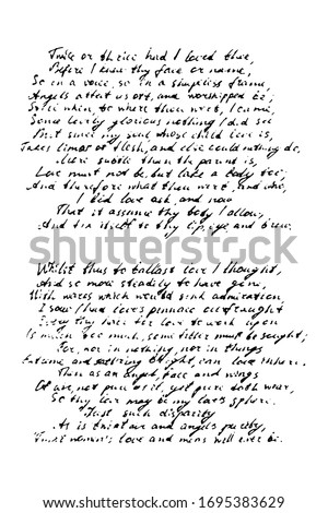 Grunge background of a hand-written poem. Illegible poetry written in ink on a white background. Foto stock ©