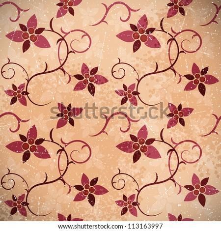 Grunge background of floral ornament. Vector illustration.
