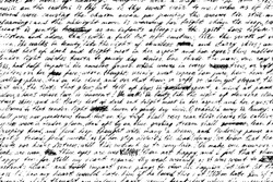 Grunge background of old handwriting. Shabby and illegible manuscript draft with crossed out words. Vintage half-erased hand-written letter. Overlay template. Vector illustration