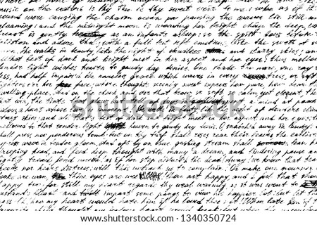 Grunge background of old handwriting. Shabby and illegible manuscript draft with crossed out words. Vintage half-erased hand-written letter. Overlay template. Vector illustration Foto stock ©