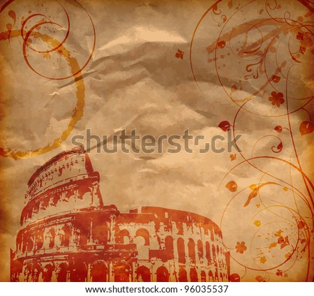 Grunge background with Colosseum and florals