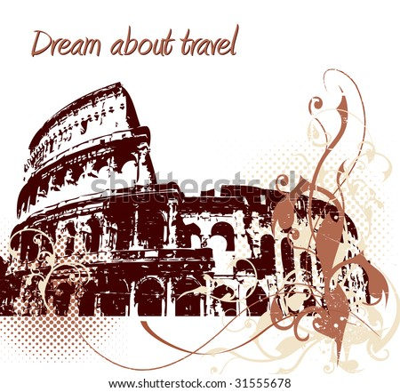 Grunge background with Colosseum in Rome, Italy