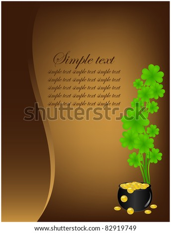 Grunge background with full pot of gold and clover