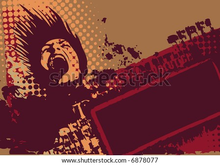 grunge background with revolutionary screaming head and and elements of street style with space for your text, vector illustration
