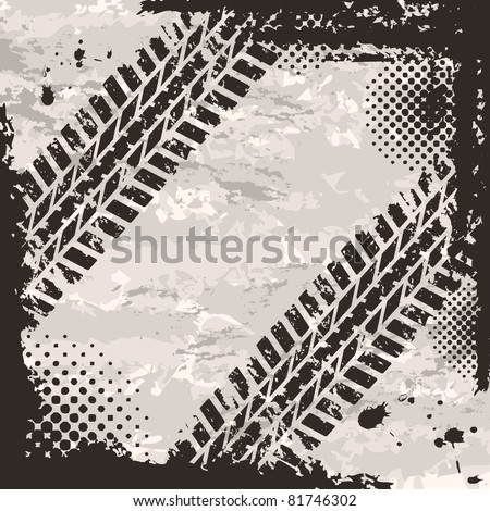 Grunge background with tire tracks and place for text - stock vector