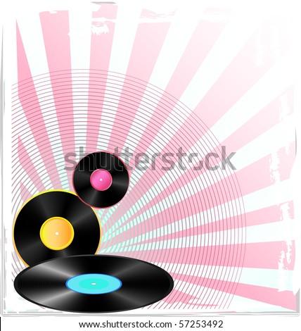 grunge background with vinyl discs