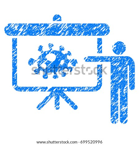 Grunge Bacteria Lecture icon with grunge design and scratched texture. Unclean vector blue pictogram for rubber seal stamp imitations and watermarks. Draft sign symbol.