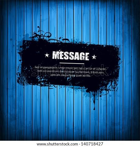 grunge banner on blue wooden